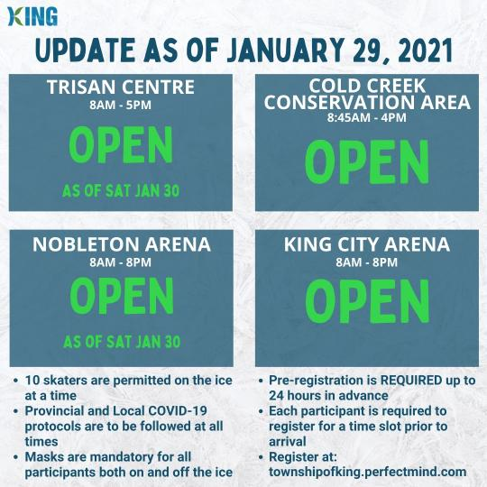 All four outdoor rinks will be open starting Sat., Jan. 30.