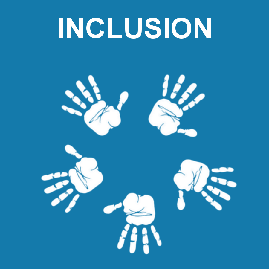 Inclusion image with hand prints in a circle