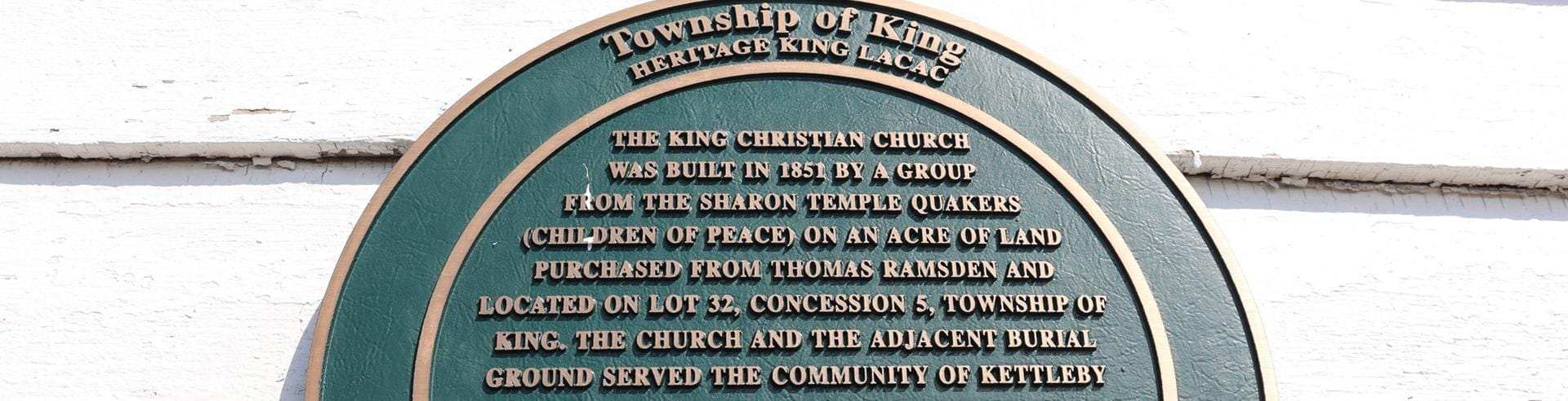 King Heritage and Culture Centre church plaque